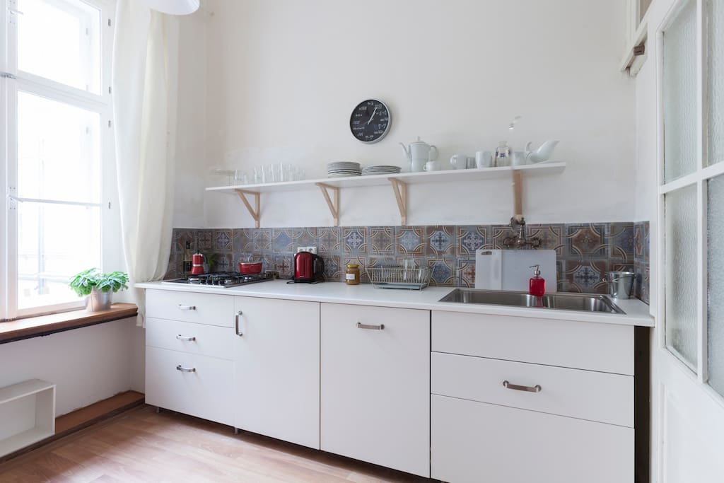 Fridge and dishwasher are built in. You will find kitchen basics here.