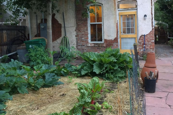 """This is the garden and patio where you can harvest your salad and enjoy the seasonal bounty. I like to affectionately refer to my house as """"a work in progress"""""""