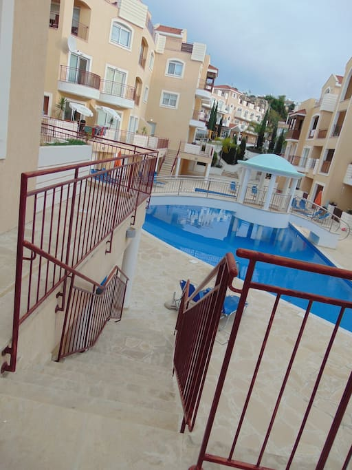You will have the private way to the swimming pool from your veranda!