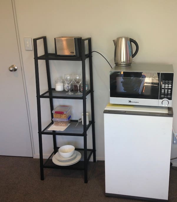 In-room mini kitchen - fridge, microwave, toaster and kettle