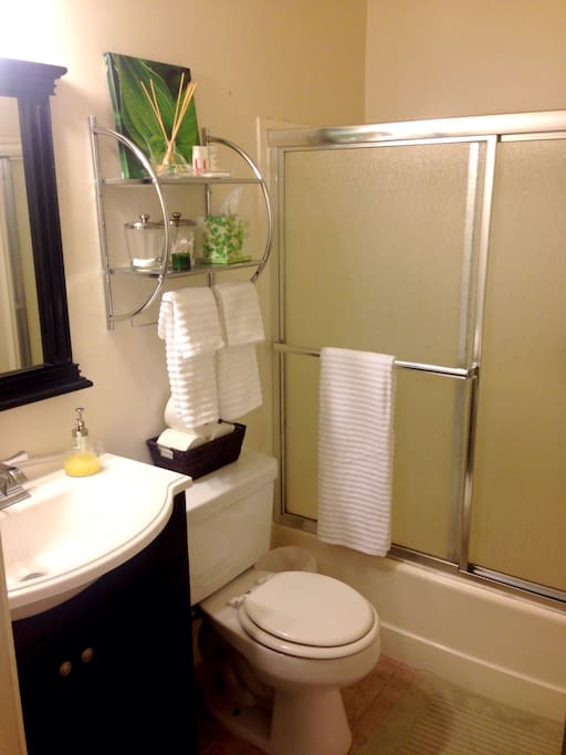 Clean and spacious bathroom with amenities.