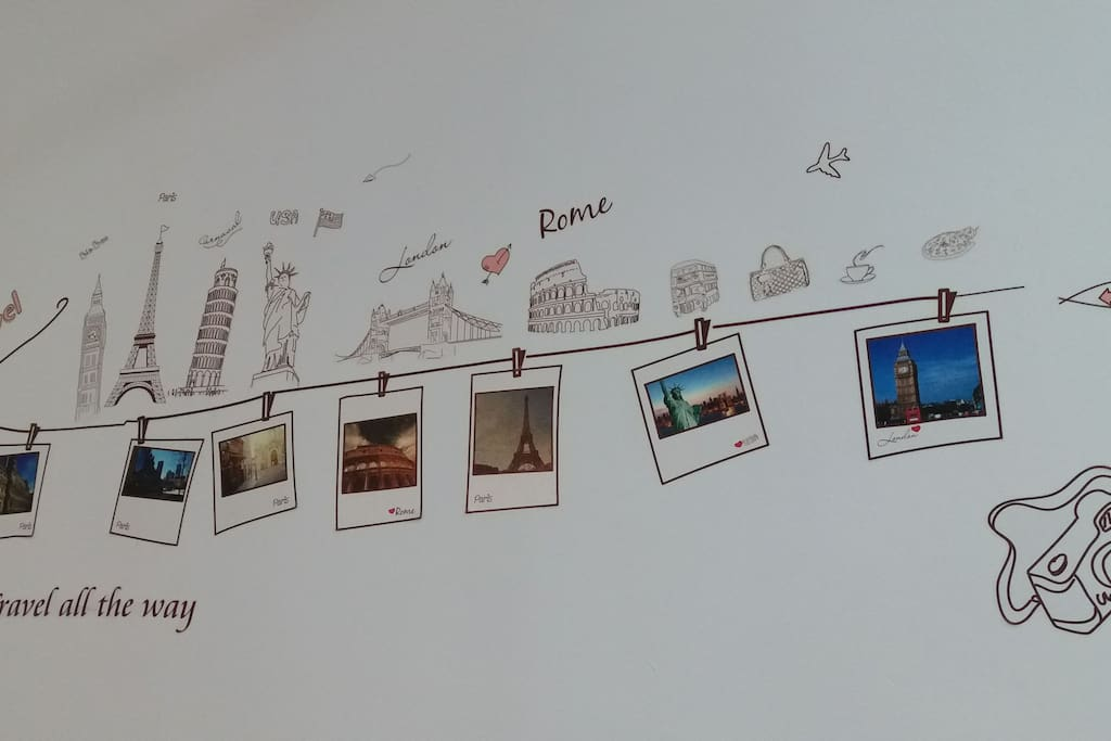 Wall sticker- Travel all the way to different countries