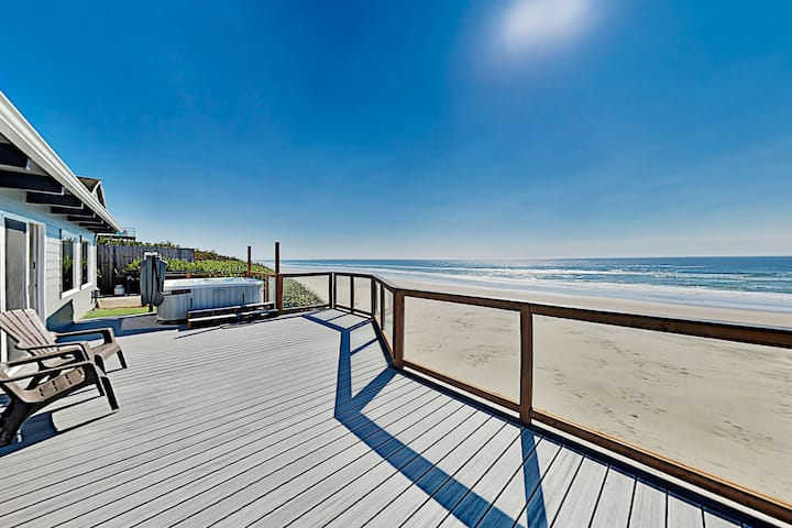 Spacious Oceanfront Home w/ Water Views & Hot Tub