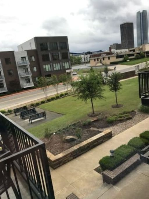 Front lawn of condo building, downtown view