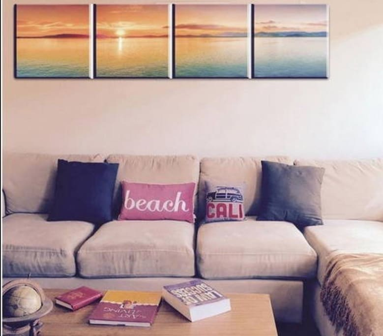 Listen to the waves crashing while siting on our sunny comfy couch.
