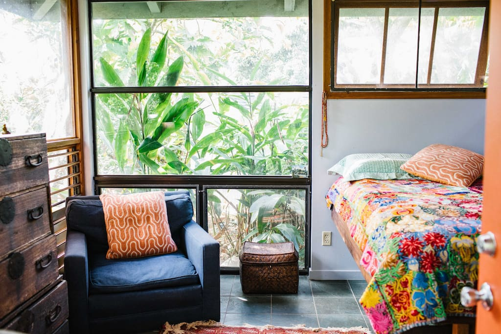 Surf Shack is surrounded with windows for great air flow and beautiful light overlooking tropical jungle