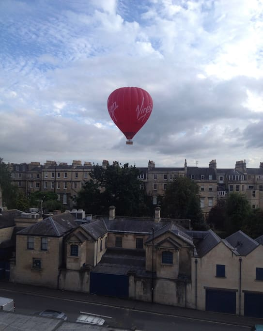 Hot air balloon over the Royal Crescent from bedroom window