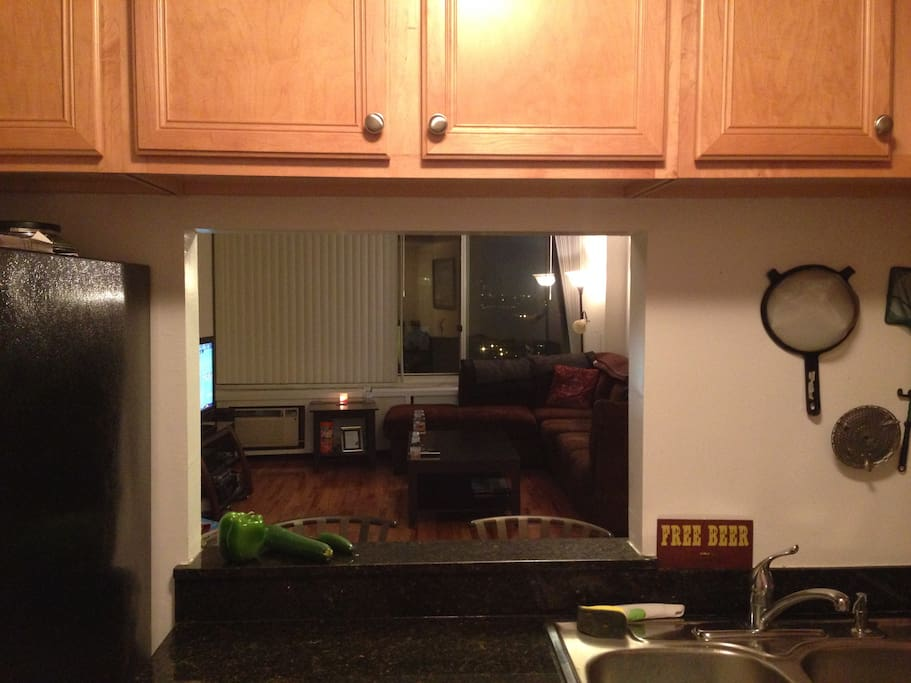 View of living room from kitchen.