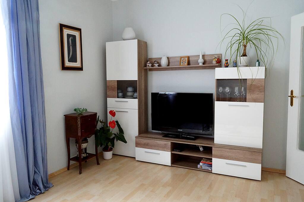 Helles Wohnzimmer mit TV-Wand inklusive WLAN und Kabel-TV
