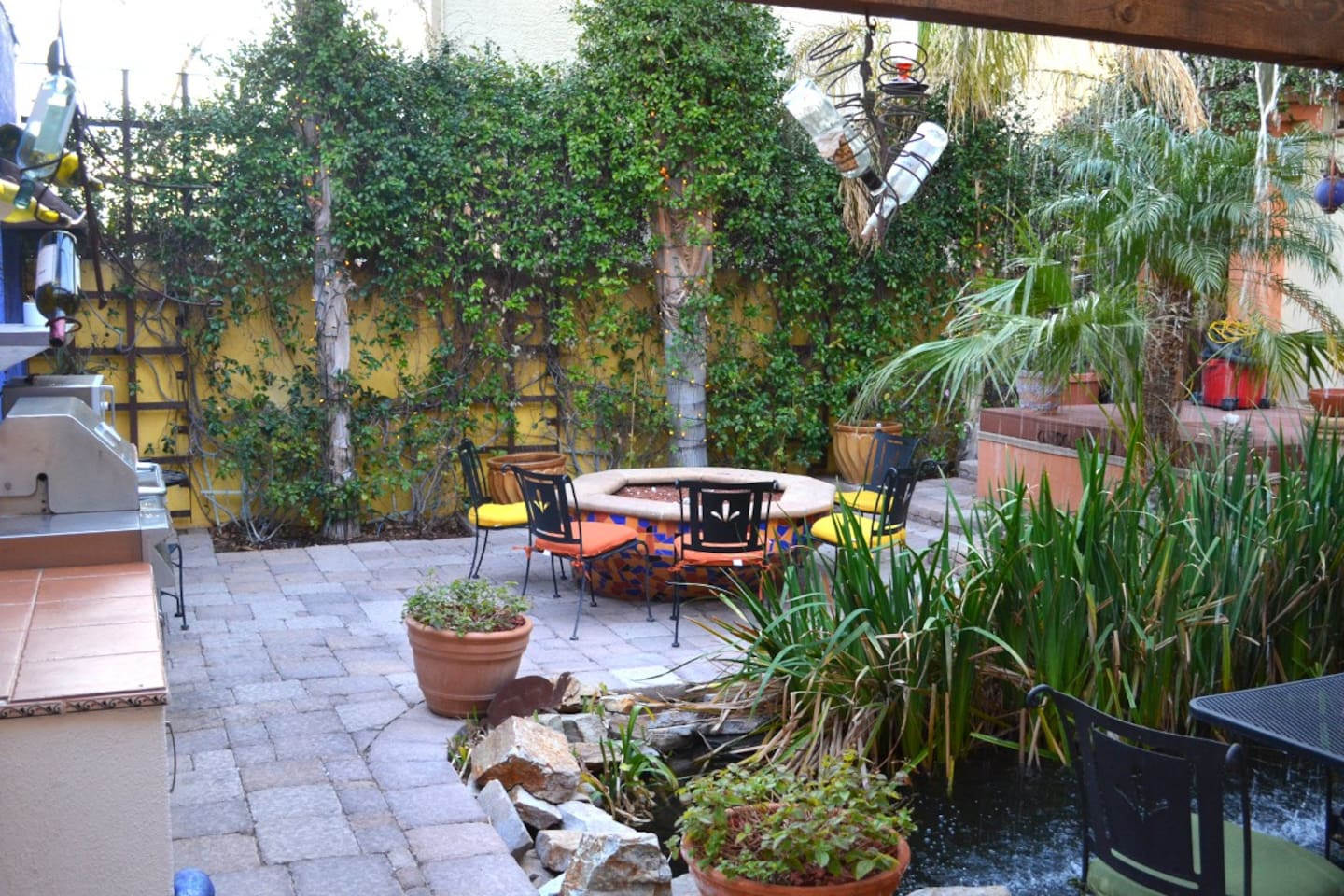 Courtyard for Inn Guests w/Koi & Turtle Pond, Waterfall, Firepit, and BBQ/Outdoor Kitchenette
