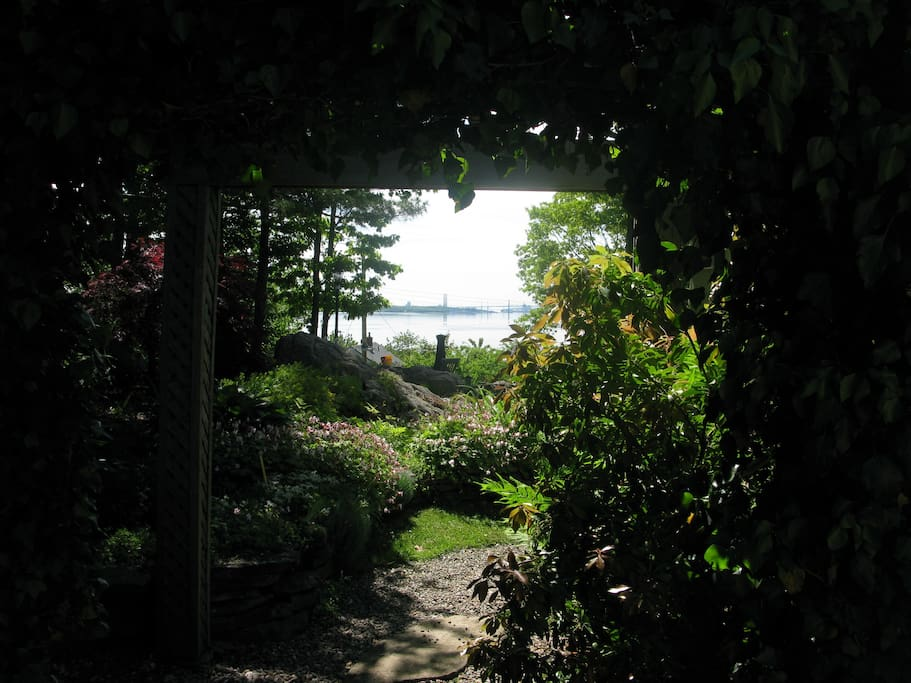 View as you enter backyard (where entrance is located)