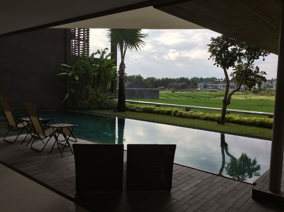 Swimming pool with rice paddy view