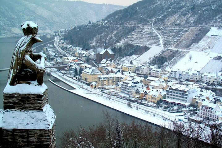 The Moselle Valley under a Blanket Of Snow.. While The Moselle Sleeps We Are Still Open !