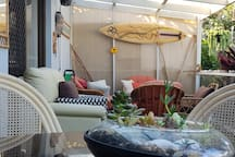 Sydney climate is perfect for outdoor living.  Guests love this private outdoor lounge and dining area.