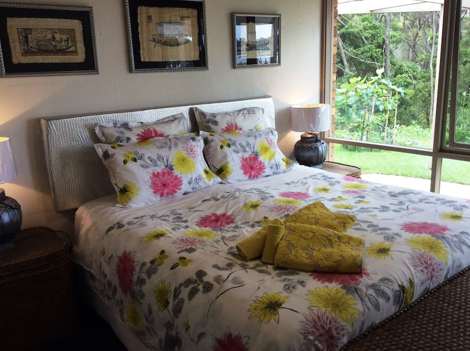 Bedroom 1 - King-size bed with view of the Lake. Quality sheets and towels provided.
