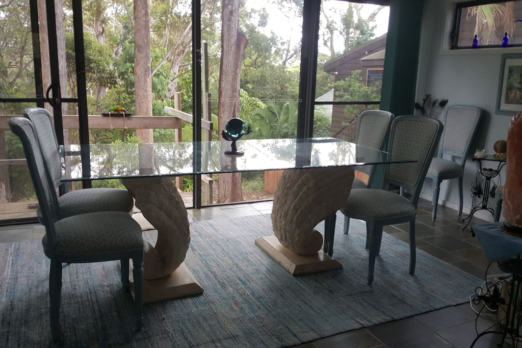dining room with beautiful bush view