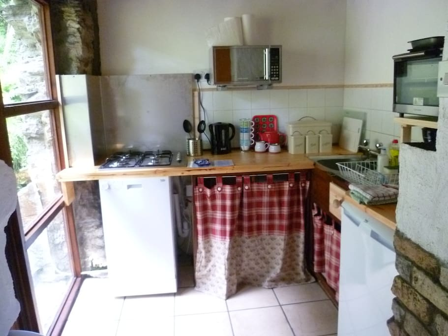 Kitchen, filled with light from a patio door. There is a fridge with ice box, dishwasher, oven and microwave.