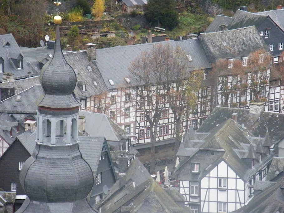 View of the holiday house from Monschau castle