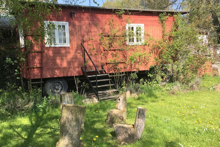 Romantic trailer at the Oder-Bicycle-Path