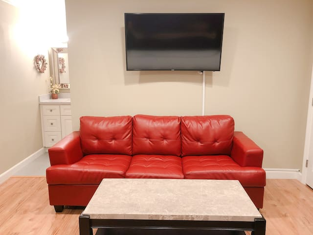 Sofa bed and HD TV