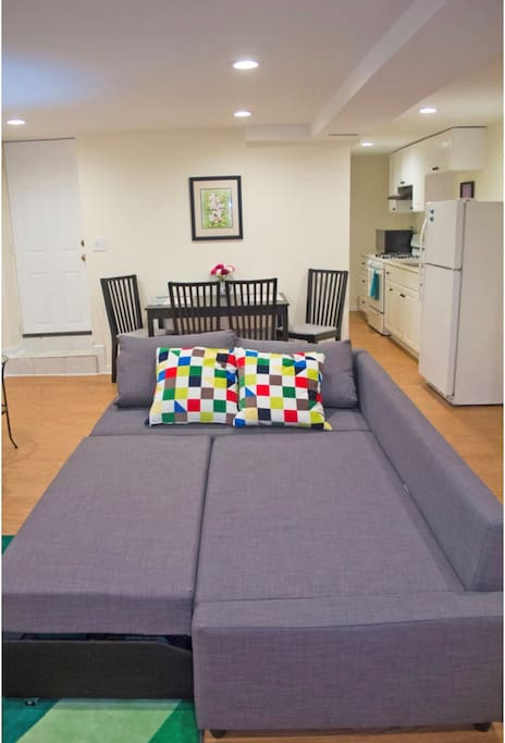Couch pulled out to double size bed