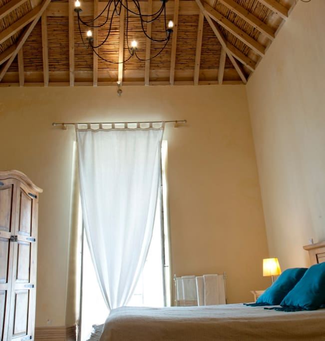bedroom: french window; wooden ceiling and floor.