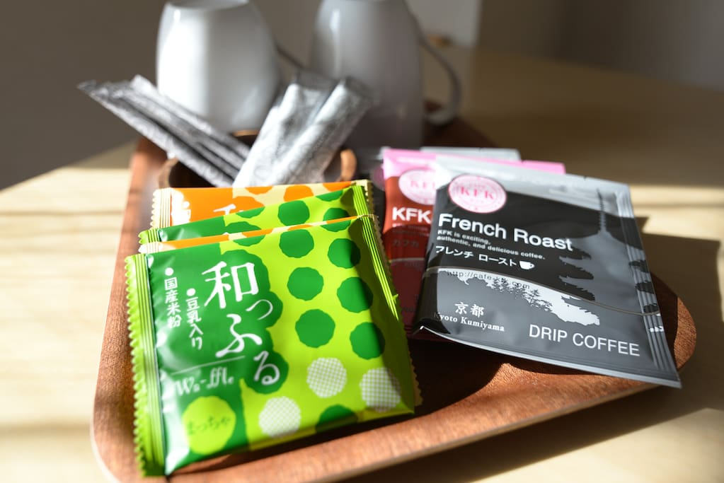 Welcome coffee and japanese traditional snacks are waiting for your coming.