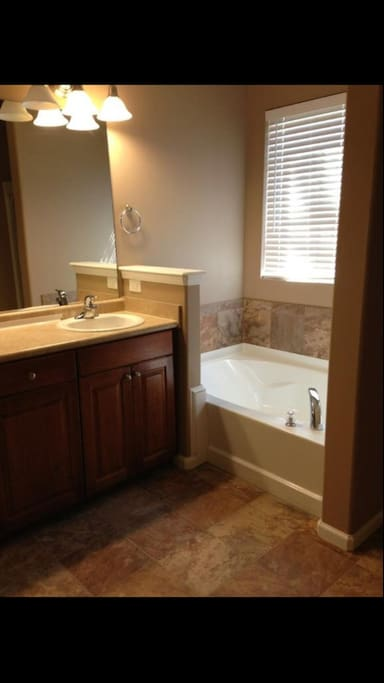 Master bathroom with shower and garden tub