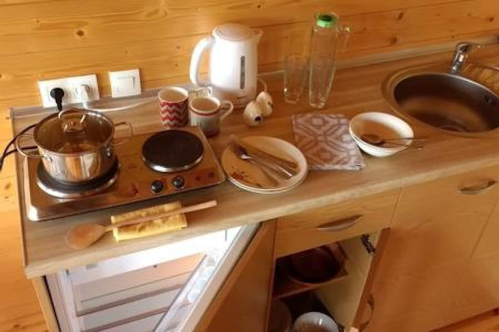 The kitchen with basic equipment.