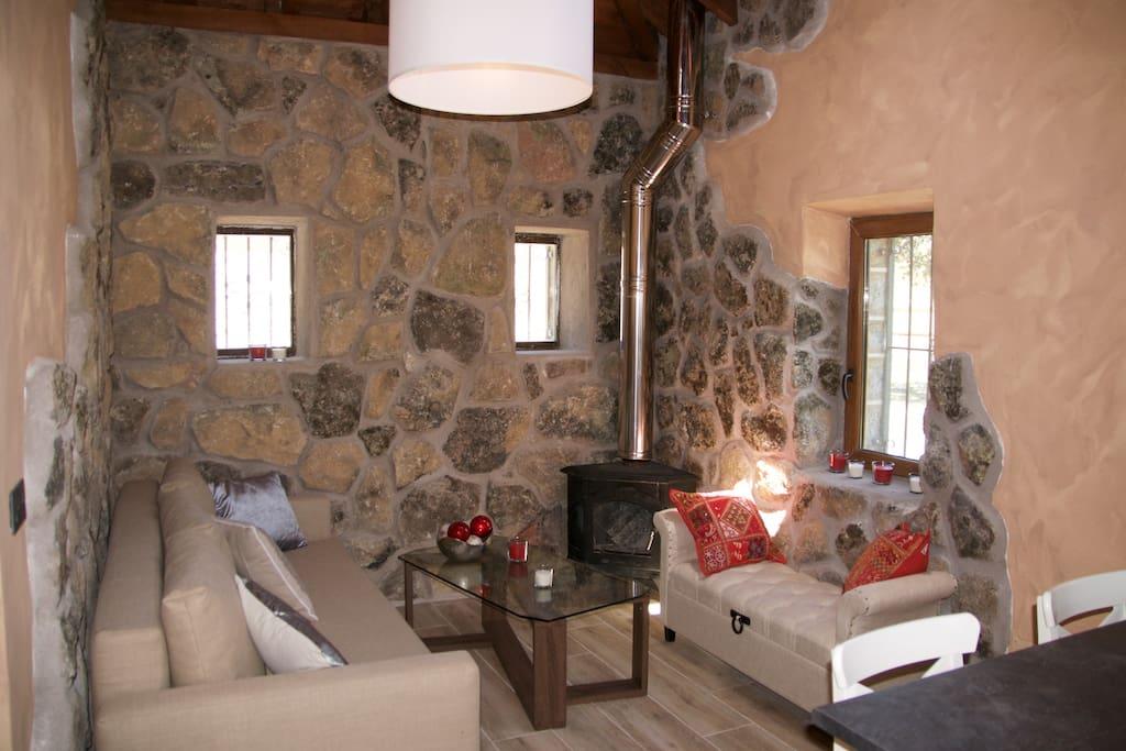 Acogedor salón, con chimenea