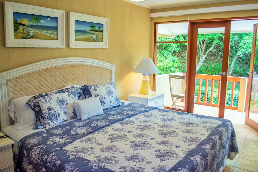 Sleep to the sounds of the ocean waves in our master en suite bedroom.  The balcony overlooks the pool and the sea below!