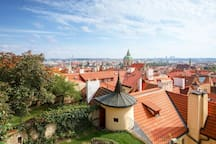 """View over the roofs of Prague, the city of """"one hundred towers"""""""
