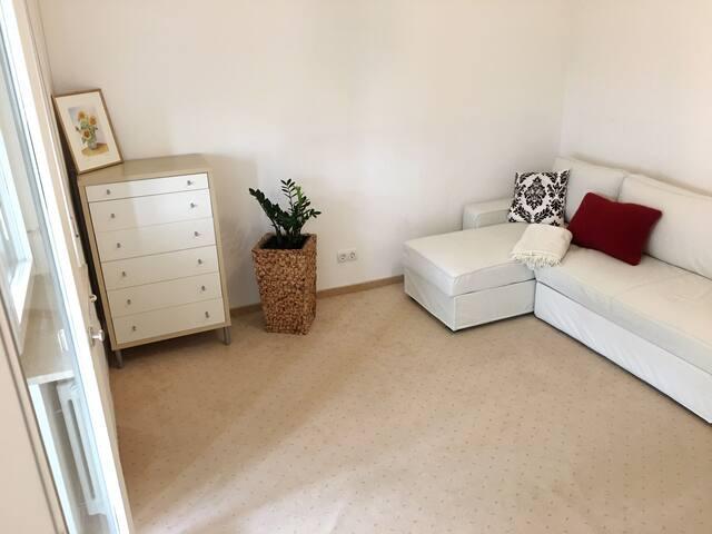 Arbeits / Gästezimmer mit Schlafcouch, Schreibtisch, Schrank