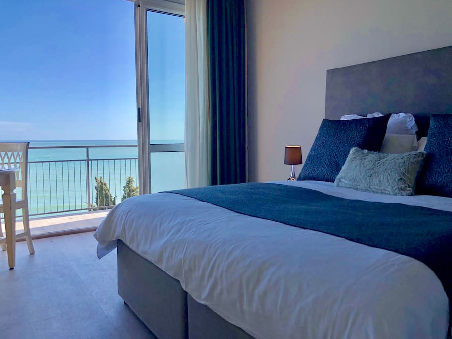 Bed and sea view