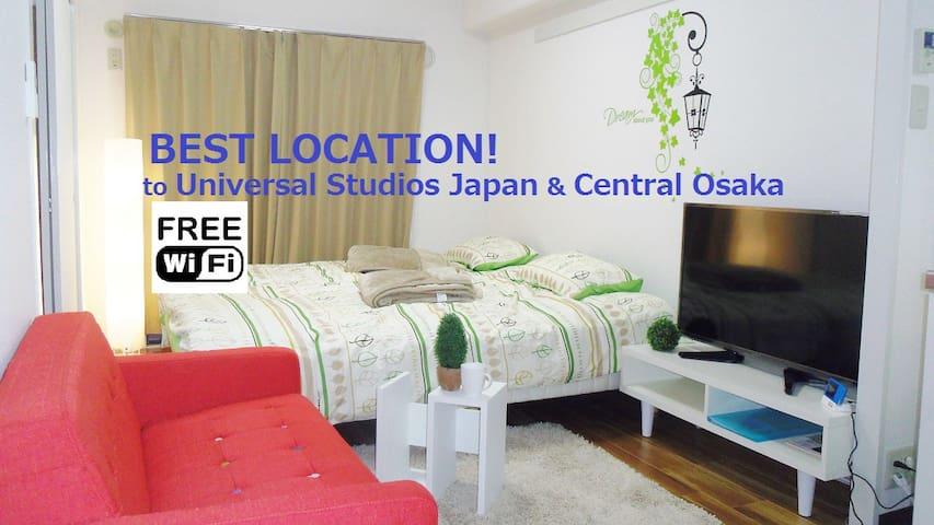 Fun Osaka! USJ, Namba/sta.3min/2BR - Ōsaka-shi - Flat