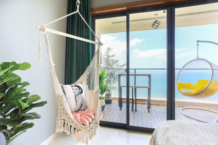 【早安,大海】1分钟走到沙滩、23层无敌海景、三亚湾蓝色海岸小区、网红秋千、泡泡球、梳妆桌