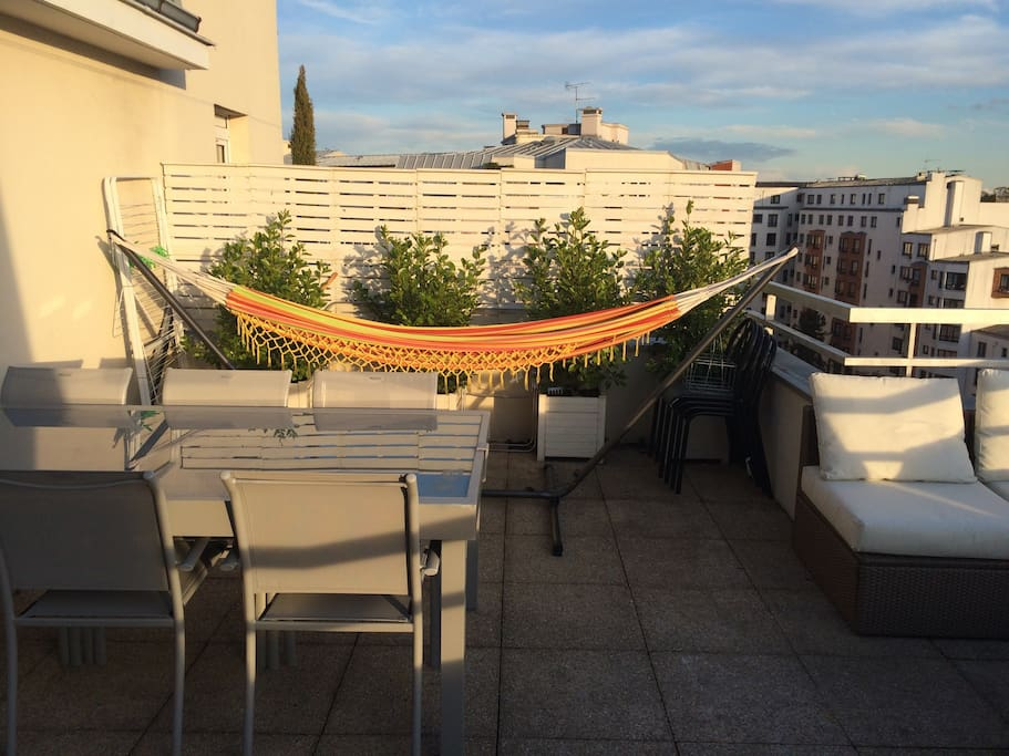 A large rooftop terrace with quality facilities