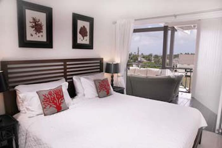 The air-conditioned master bedroom features sliding doors to the terrace.  It has a king size bed and ample caribbean style closets for clothes.  It has a fixed safe for valuables.
