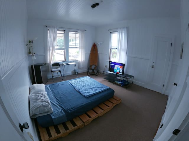 Private room with fridge, TV, and secured closet!