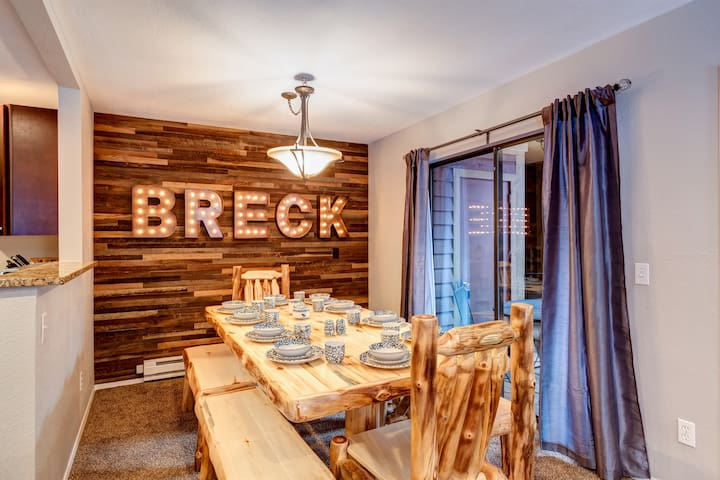 "Dining room includes, CUSTOM reclaimed wood wall and totally fabulous ""BRECK"" marquee letters."