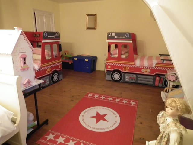 Family room with novelty beds for children