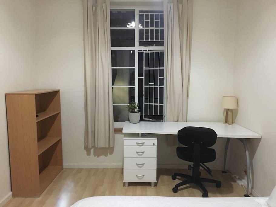 Desk with Chair & Storage Shelf