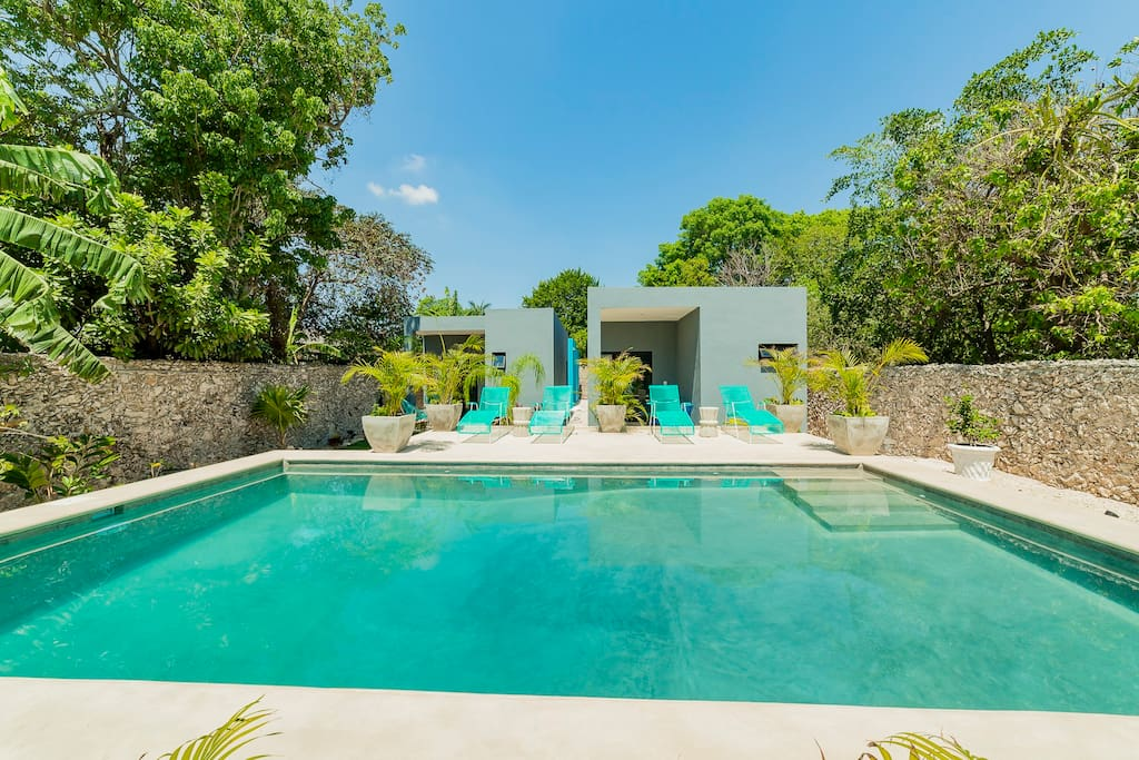The pool area and casitas behind.