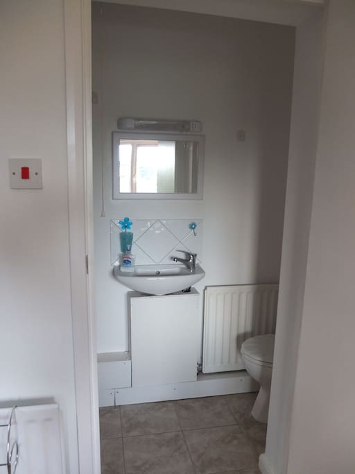 Ensuite shower room. Small in size but private and towels provided