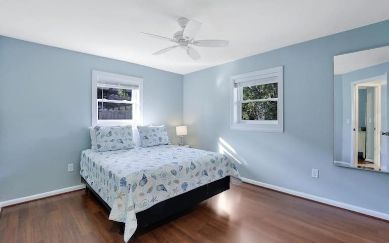 Guest Room with Queen Sized Bed and large walk in closet