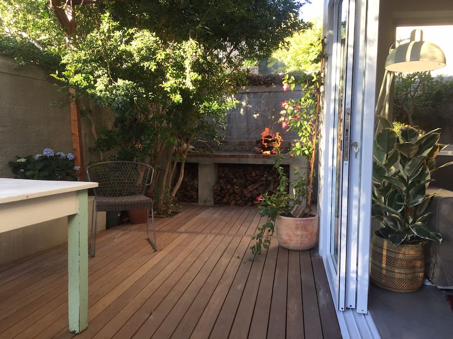 Private deck with outdoor braai and water misters for hot summer days.