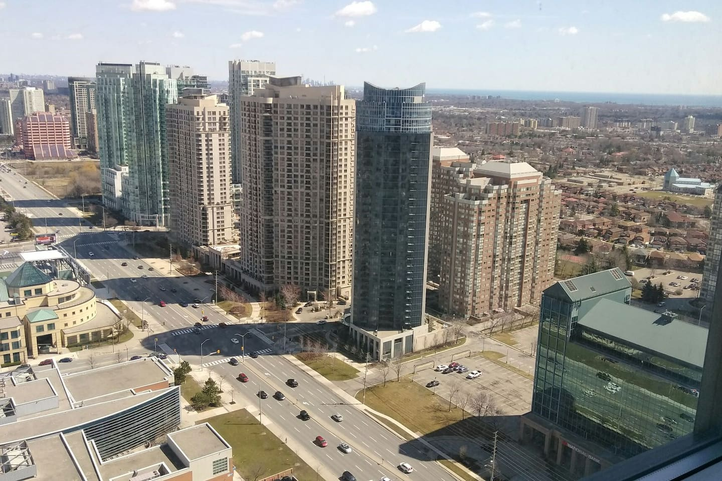 A view from the living room with downtown Toronto further back.