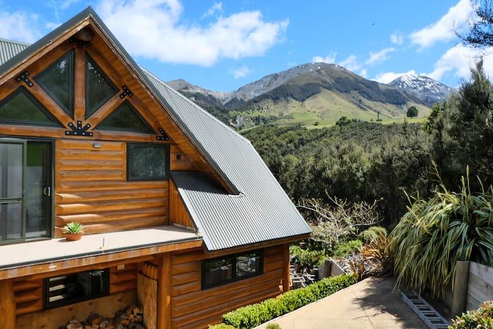 Log chalet in an alpine environment