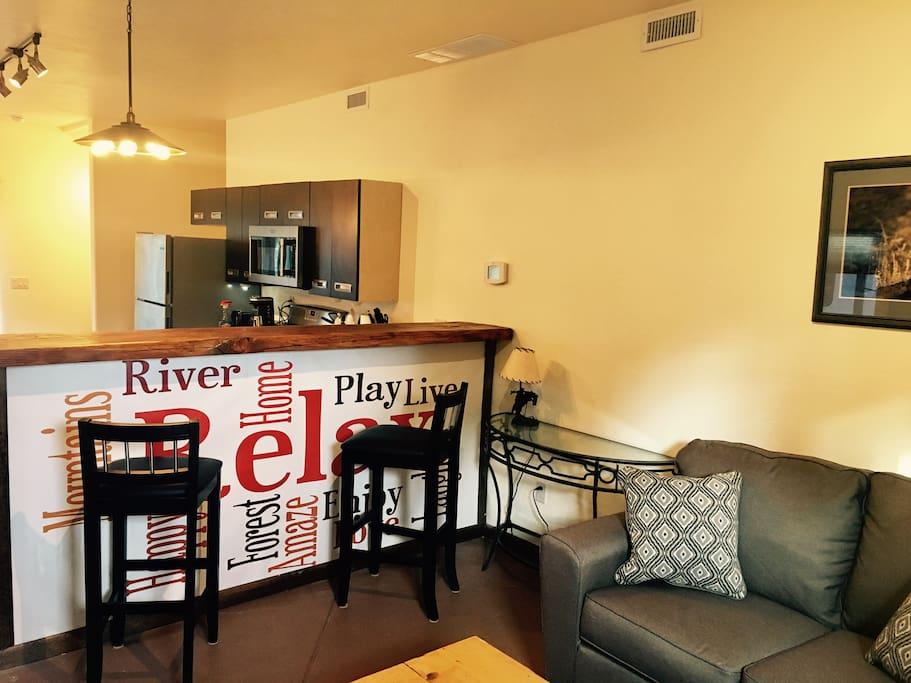 Kitchen bar from front door