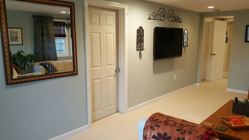 2nd LR with ample room, comfy sofa, cable TV. 2 BR's and Bathroom are off of this space.
